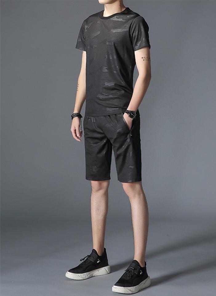 夏季新款 男士短袖T恤休闲套装 韩版潮流青年运动男装套装