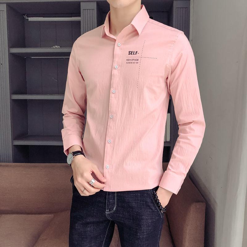 夏季新款 男士经典时尚长袖衬衫 青年学生帅气百搭修身韩版衬衫 休闲潮流衬衣