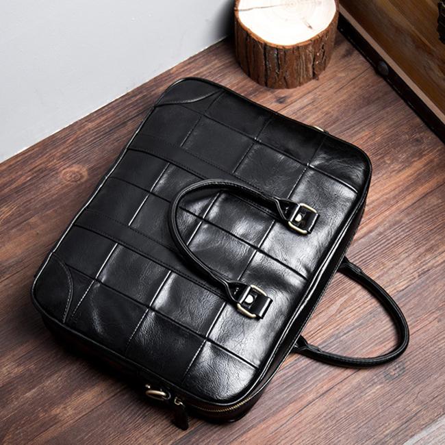 方格商务手提包 复古手提包 男士休闲包 潮流时尚电脑公文包