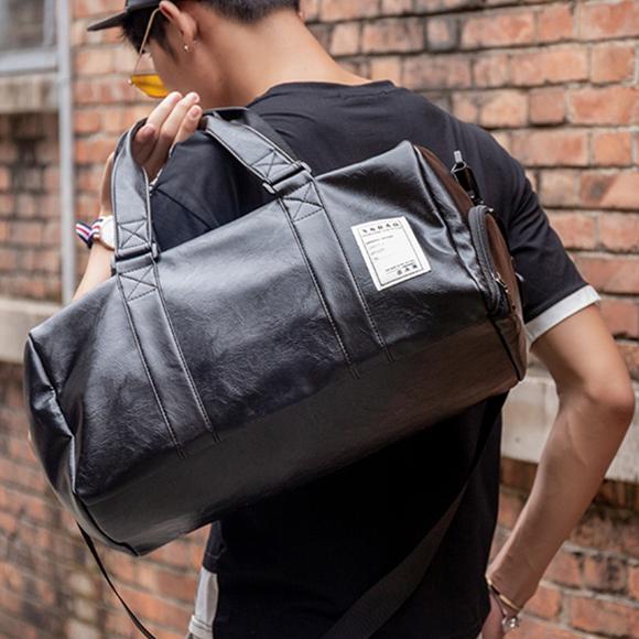 潮流新款 短途旅行包 健身包潮 瑜伽运动训练包男 PU皮防水手提旅行袋