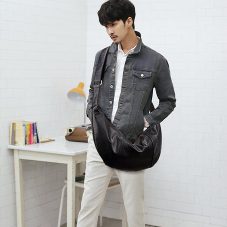 原创设计 新款韩版男包 个性旅行大包 水桶包 潮包 休闲水饺包 斜挎包