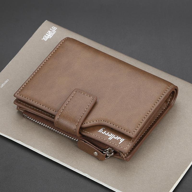 新款男士钱包 男士短款多功能驾驶证卡包 多卡位皮夹 竖款三折拉链钱夹潮