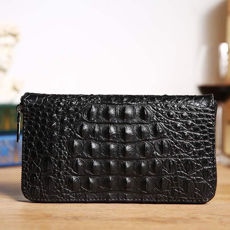 经典时尚鳄鱼纹男士钱包 长款拉链鳄鱼纹皮质手包 青年手机手拿包