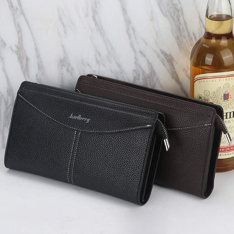新款 男士钱包 韩版简约皮质中长款钱夹 轻商务日韩横款手拿包卡包钱包