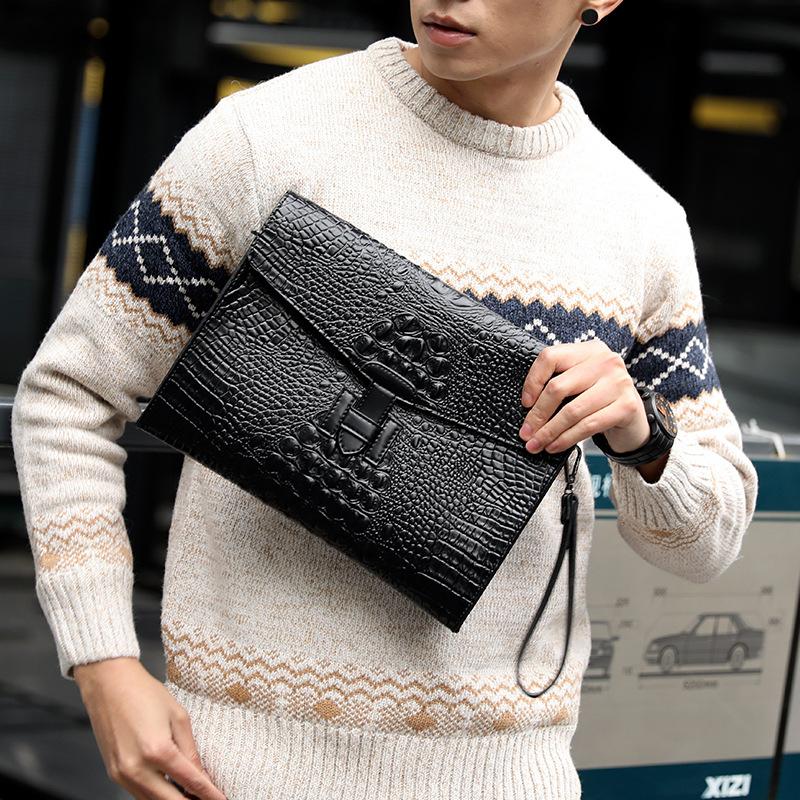 新款 韩版鳄鱼纹手拿包 手抓包 时尚单肩包斜挎包