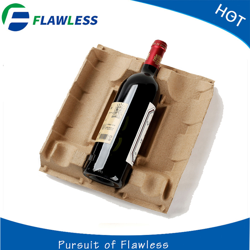 pulp molded wine bottle tray