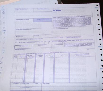 上海印刷定制电脑带孔票据联单国际物流行业系列