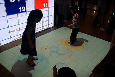 【珠江0度】地面投影踩气泡互动