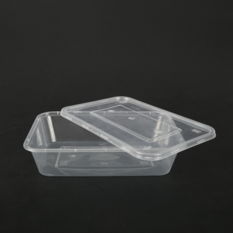 Rectangular plastic box 500ml (can be used in microwave oven)