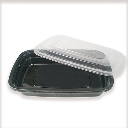 Rectangular lunch box with black bottom 750ml (can be used in microwave oven)