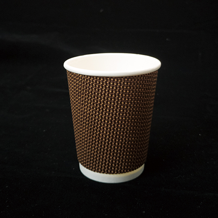 8 oz Double layer hot paper cup (brown fabric pattern)