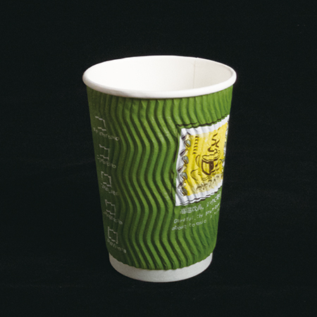 14 oz Double layer hot paper cup (S green pattern)