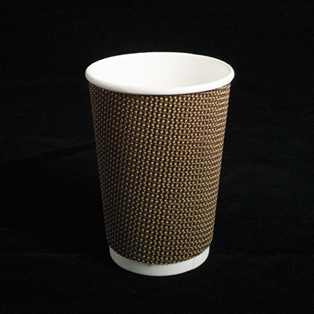 14 oz Double layer hot paper cup (Brown cloth pattern)