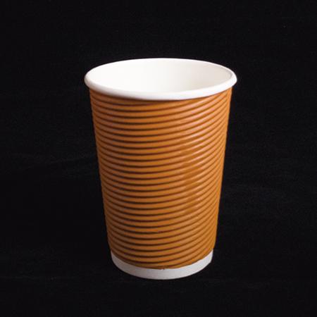 14 oz Double layer hot paper cup (Orange diagonal pattern)