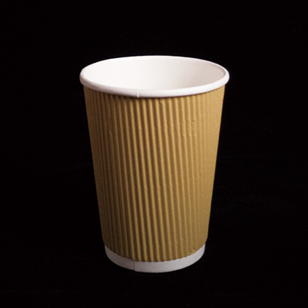 14 oz Double layer hot paper cup  (Yellow straight pattern)