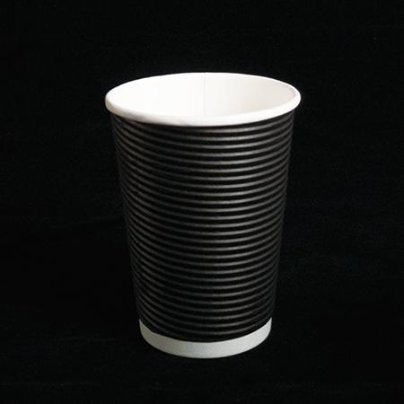 14 oz Double layer hot paper cup  (Black diagonal pattern)
