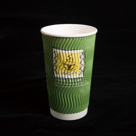 16 oz Double layer hot paper cup (S green pattern)