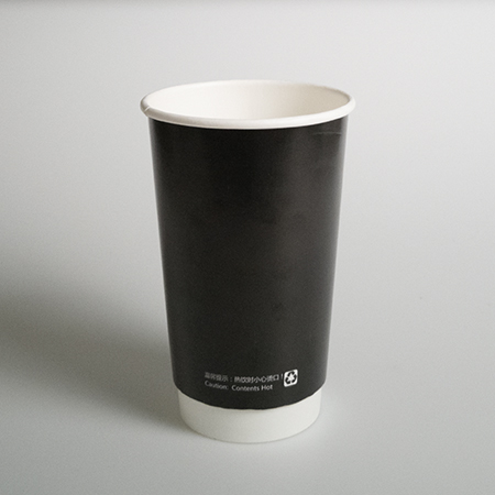 16 oz Double layer hot paper cup (Black hollow)