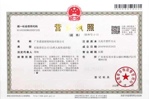 将深圳蓝波按钮制造有限公司升级为广东蓝波按钮制造有限公司,地址迁入东莞市茶山镇与威德诺按钮制造(东莞)有限公司联合办公。