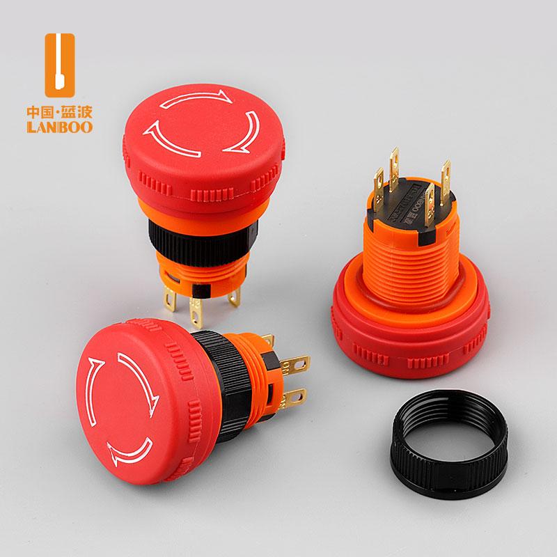 LB16sm/sm2 (16mm塑料急停钮1NO1NC,阻燃材质红色大蘑菇头6A/250VAC)