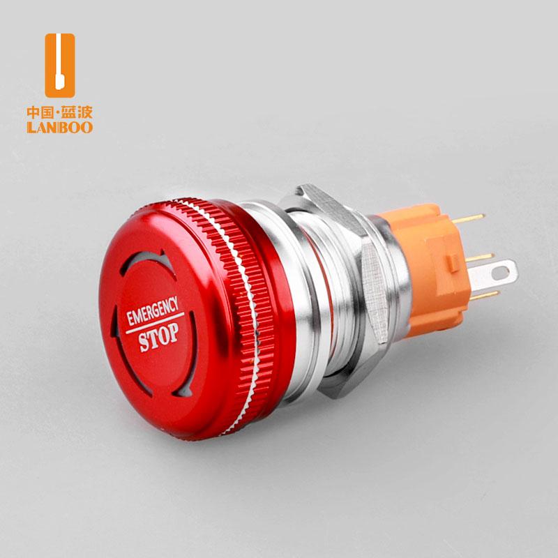 LB16M4(16/19/22mm金属急停开关带灯,红色蘑菇头按钮防水,双色发光蓝波正品)