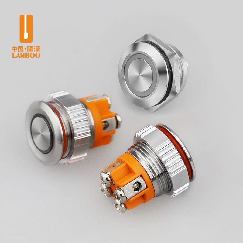LB12QC(12 16 19 22mm微电流轻触金属按钮开关 自复位螺丝脚 带灯红绿蓝黄白发光 LED12V 24V)