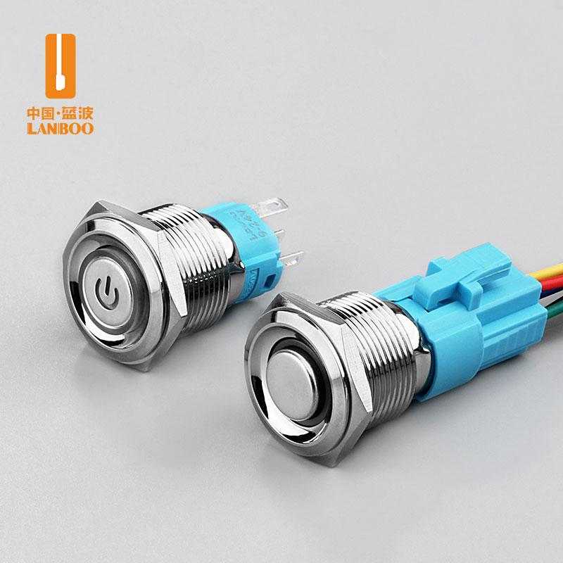 LB19A2(19mm经济型金属按钮开关环形带灯12V24V自锁复位防水改装DIY)