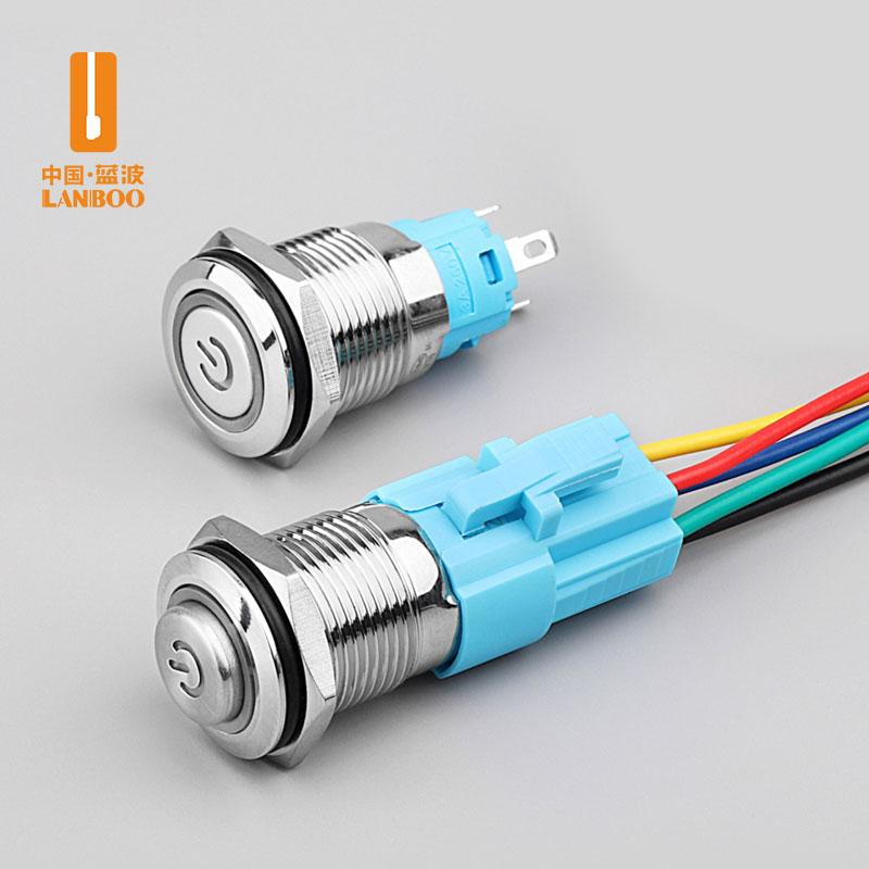 LB16A2(16mm经济款金属按钮开关环形带灯圆形12V24V自锁复位防水 厂家直销)