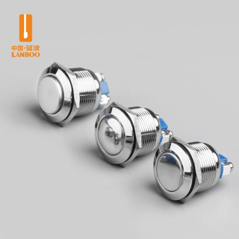 LB16C (16mm金属按钮开关复位点动自复高头球形平头镀镍外壳螺丝脚改装)