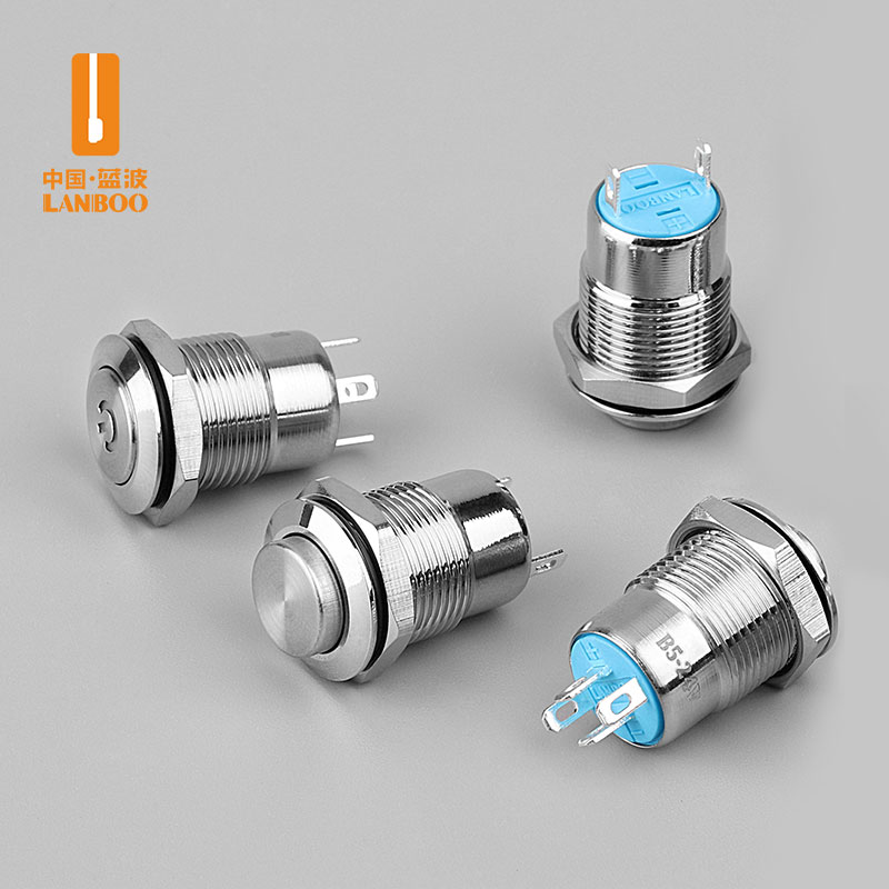 LB12B2(12mm经济型金属按钮开关带灯自锁式小型自复位防水圆形12V24V)