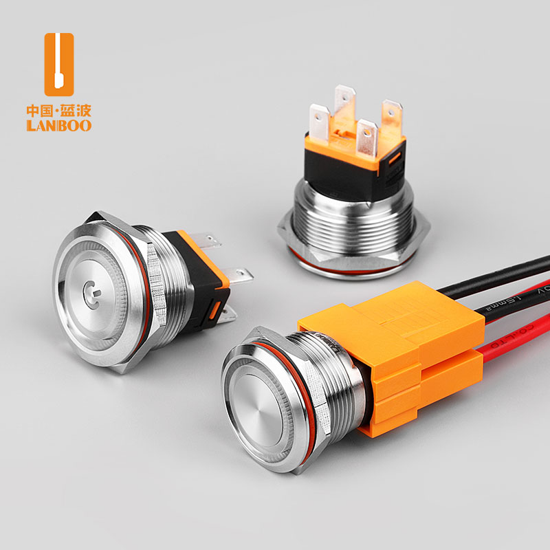 LB22C/25C (15A大电流金属按钮开关带灯开孔22/25mm自复自锁红绿黄蓝白发光,IP67国家专利产品)