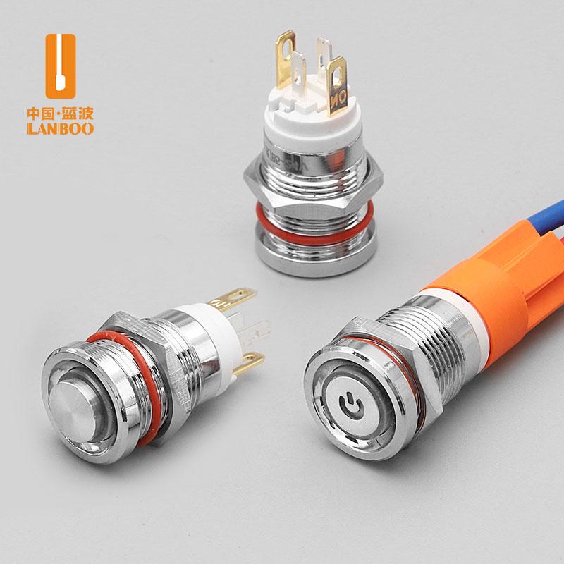 LB12E(蓝波新品7A大电流金属按钮开关,12mm迷你尺寸自锁自复,带灯红绿蓝黄白发光,防水220V)