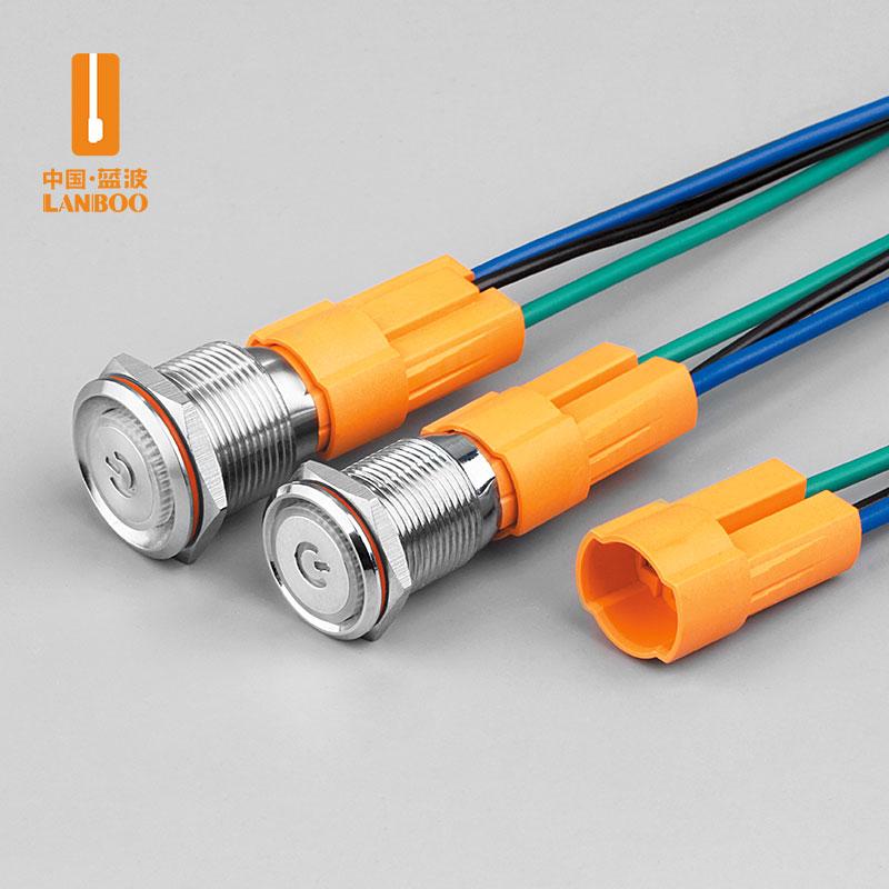 LB16B/19B (16mm/19mm大电流金属按钮开关,1NO功能,10A大电流带灯金属按钮开关自复自锁12V24V)