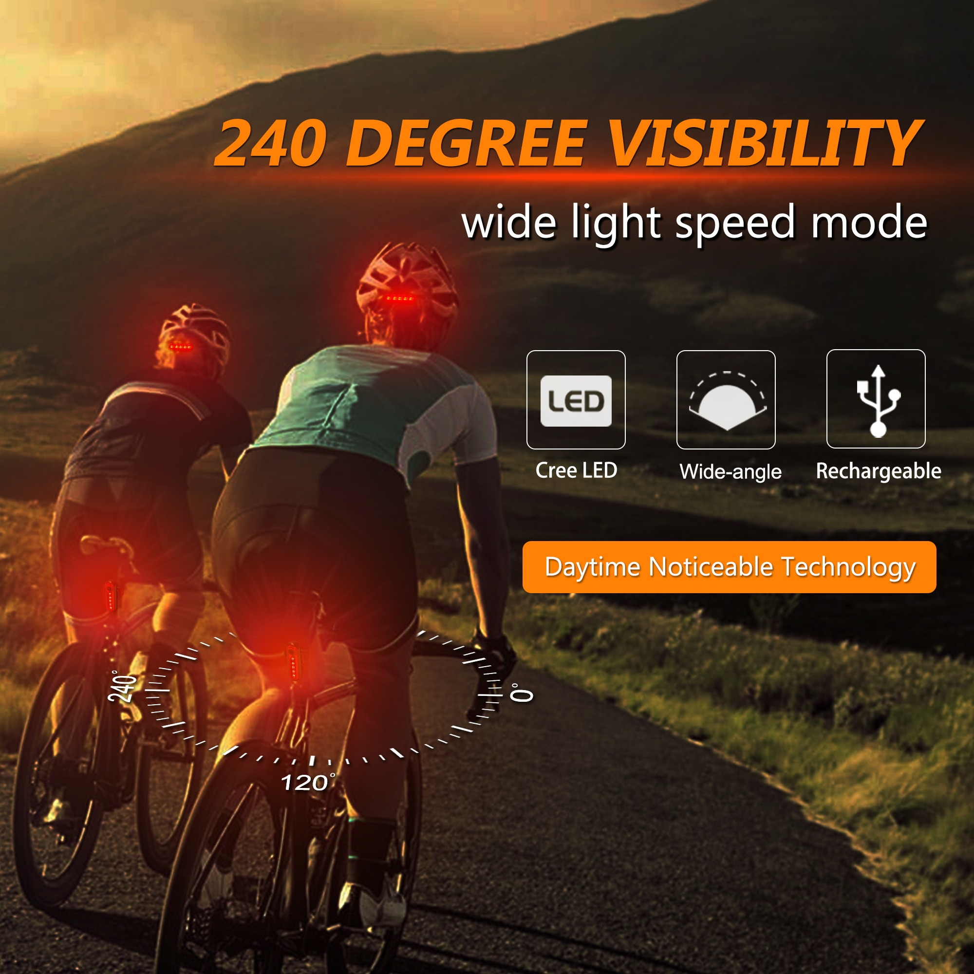 Bicycle Bike 5 LED Safety Warning Rear Tail Light Back Lamp Ultra Bright 8 Modes