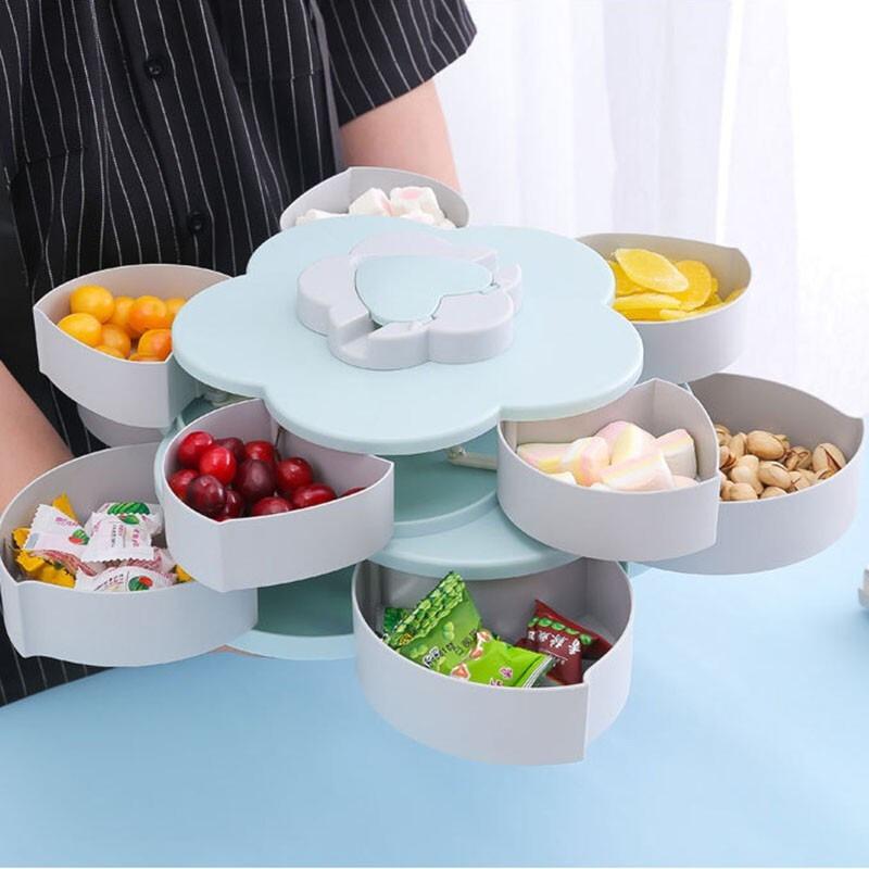 果盘抖音同款花瓣旋转双层果盒糖果盘家用分格塑料果盘手机支架