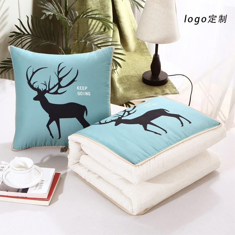 冬季加厚抱枕被两用办公室午睡枕多功能折叠枕头靠垫礼品定制logo