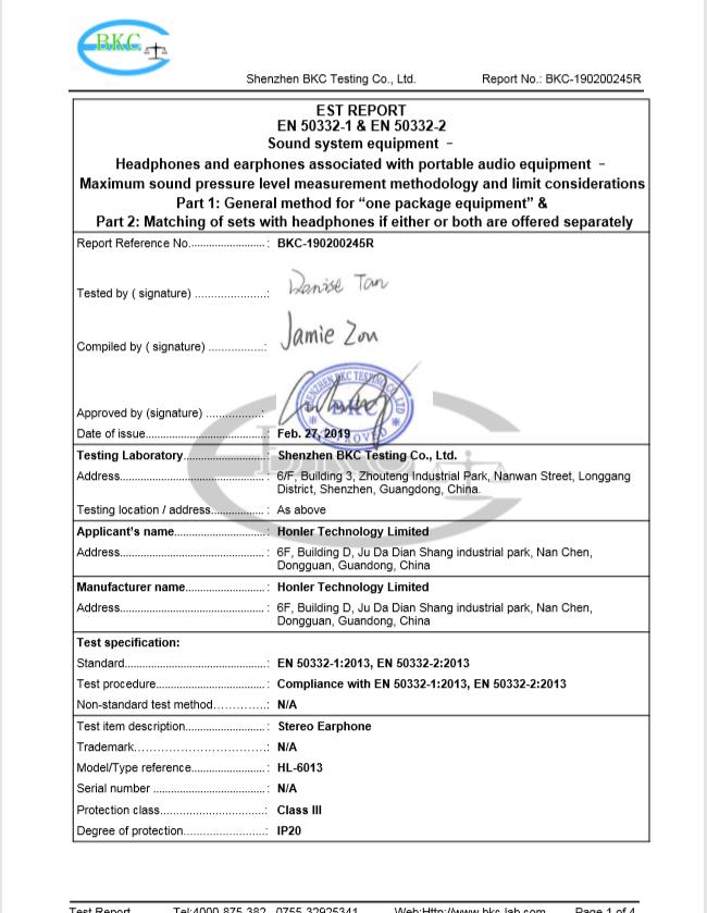 EN50332-2 testing report