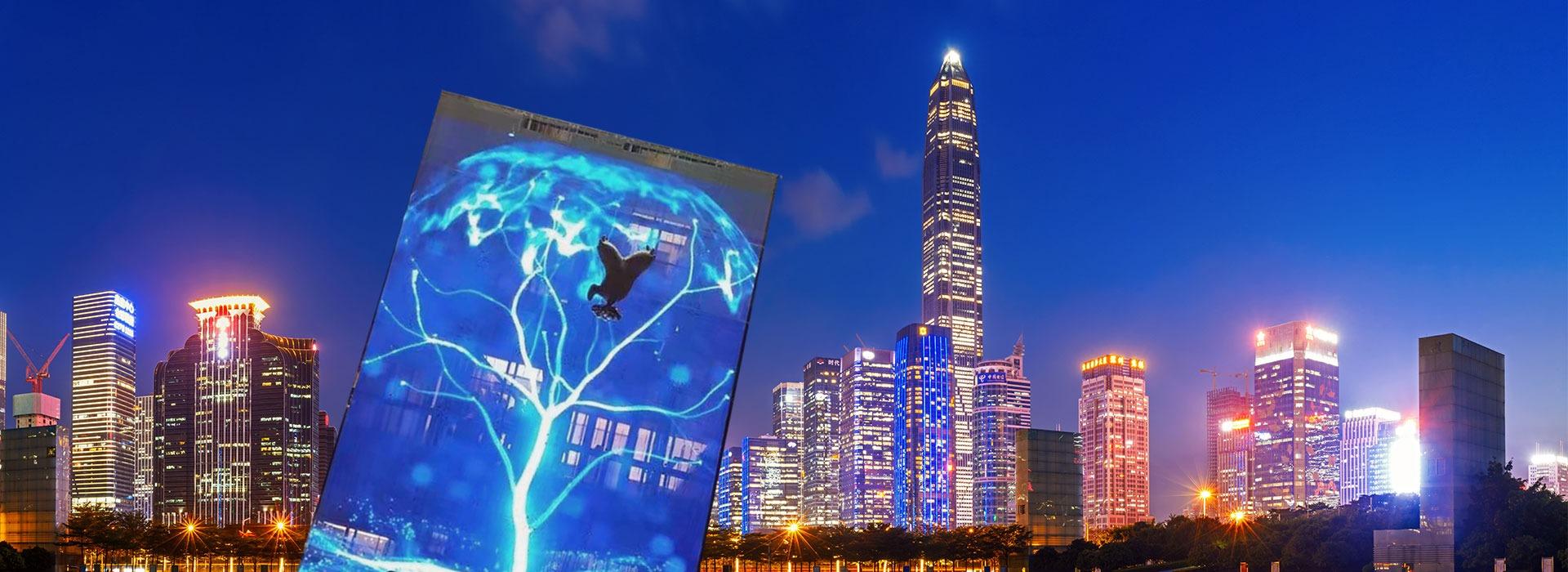 led透明屏,适用于大型玻璃幕墙