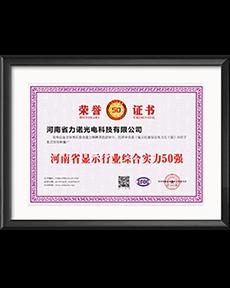 河南省显示行业综合实力50强荣誉证书