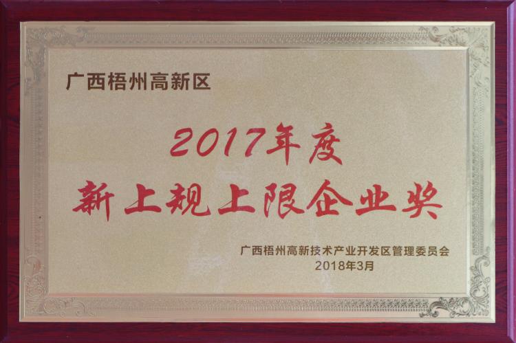 2017年度新上规上限企业奖