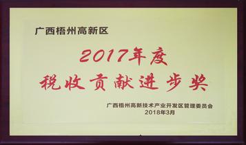 2017年度稅收貢獻進步獎