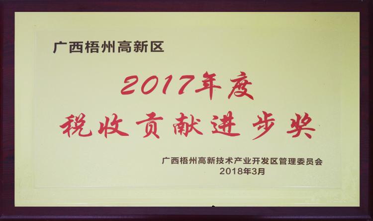 2017年度税收贡献进步奖