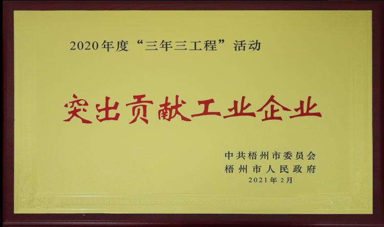 """2020年度""""三年三工程""""活动突出贡献工业企业"""