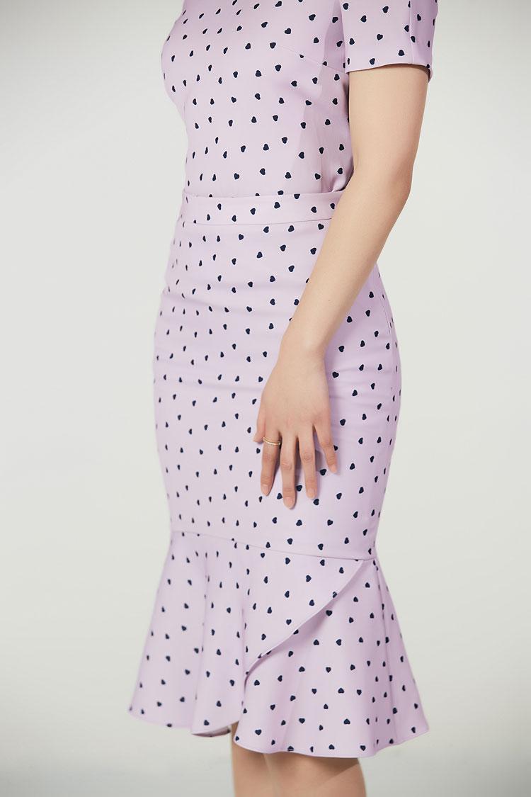 爱心波点花瓣高腰半身裙