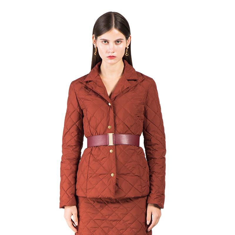 复古收腰薄短款羽绒服外套