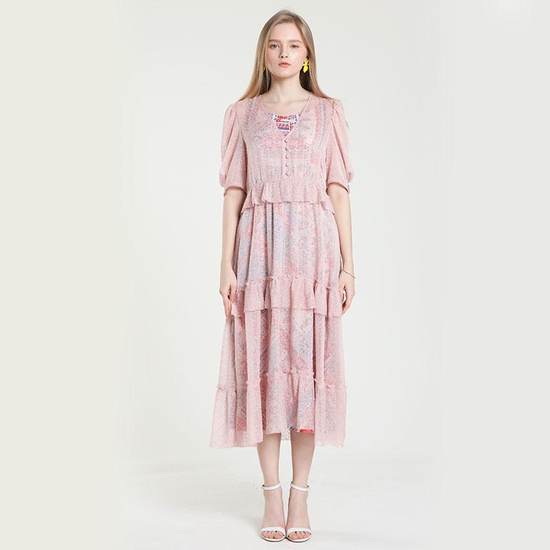 2021夏季新品设计师品牌短袖名媛气质收腰显瘦时尚印花裙子