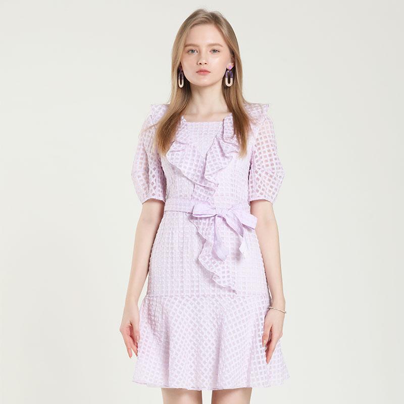 2021春夏新品设计师品牌过膝气质超仙维多利亚多层荷叶边连衣裙