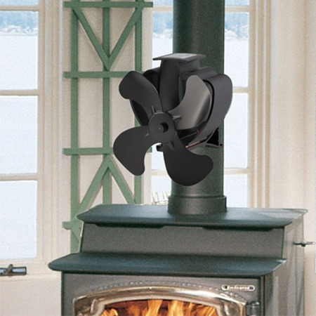 4 Blades Heat Powered Stove Fan Pipe Fireplace Fan for Wood Log Gas Pellet Stove