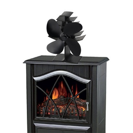 Heat Powered Wood Stove Fan Eco Friendly 4 Blades Fireplace Fan with Silent Operation