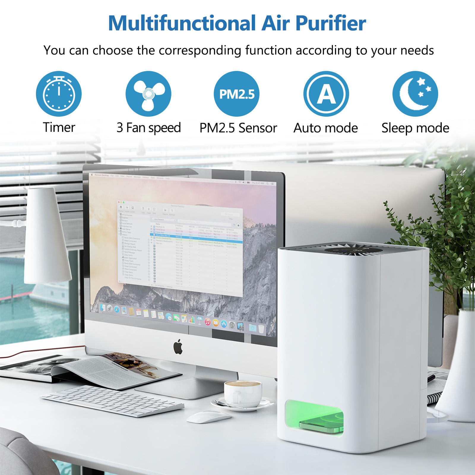 AM-160B UV Air Purifier with Multi Function Touch Control Panel and Air Quality Monitoring